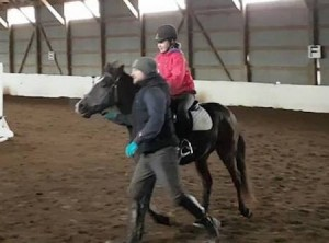 Abby's first time in the saddle on Amazing Grace, January 5, 2017.