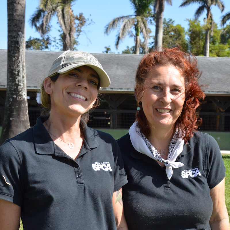 Staff members Monica Leyva (left) and Bridget Haxho (right).