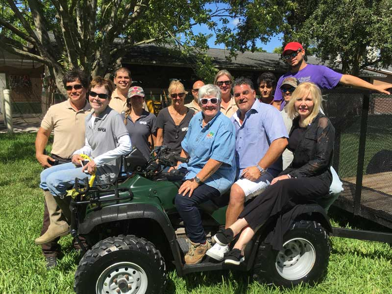 All aboard! Commissioner Sally A. Heyman, SFSPCA staff and board members, and law enforcement officers hop on the new ATV and flatbed trailer generously donated by Greg DiMaria (West Delray Collision Center). Special thanks to the Greater Miami-Miami Beach Police Foundation (not pictured: Al Eskanazy, Barry Skolnick Co-Chairs). #Partners!